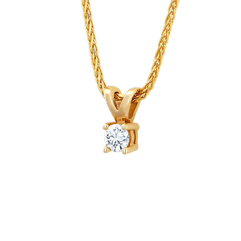 Diamond Line Diamant-Ring Damen 585 Gold mit 7 Brillianten 0.10 ct. Lupenrein
