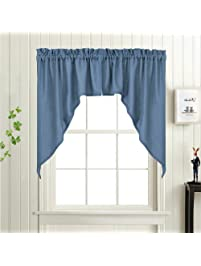 2 Panels Swag And Valances Set Window Treatments, Blue Semi Sheer Casual  Weave Textured