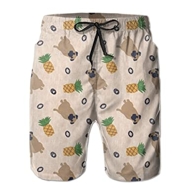 396a1dd46e HUDEWDS23 New Primitive Pug and Pineapple Men's Swim Trunks Summer Suit  with Pockets | Amazon.com