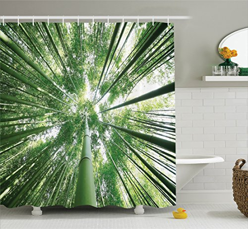 Grove Set Tree - Ambesonne Bamboo Decor Shower Curtain Set, Tropical Rain Forest Tall Bamboo Trees in Grove Exotic Asian Nature Zen Decor Style Image, Bathroom Accessories, 69W X 70L inches, Green