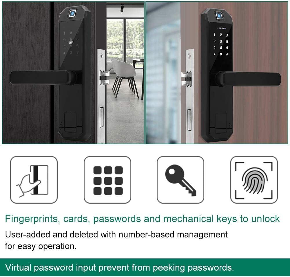 Fingerprint Digital Electronic Door Lock Fingerprints//Cards//Passwords//Mechanical Keys Unlock for Home Anti-Theft Intelligent Lock Tangxi Electronic Door Lock
