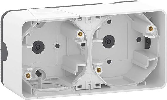 Schneider Electric MUR39914 - Caja doble superficie horizontal blanco: Amazon.es: Bricolaje y herramientas