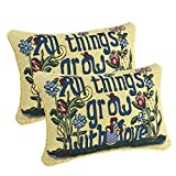 Queenie® - 2 Pcs Small English Writing Inspirational Words Meaningful Quote Tapestry Cotton Polyester Pillowcase Cushion Cover Throw Pillow Case 10 X 14 Inch (25 X 35 Cm) (Grow With Love)