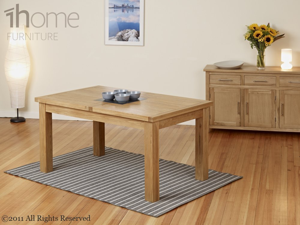 1home 100 Solid Oak Extending Dining Table Room Furniture Extendable 150cm To 195cm With 6 Chairs Amazoncouk Kitchen Home
