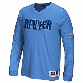 Adidas Denver Nuggets NBA Clima luz Azul auténtico Pista Rendimiento Lanzador de Manga Larga Camiseta para