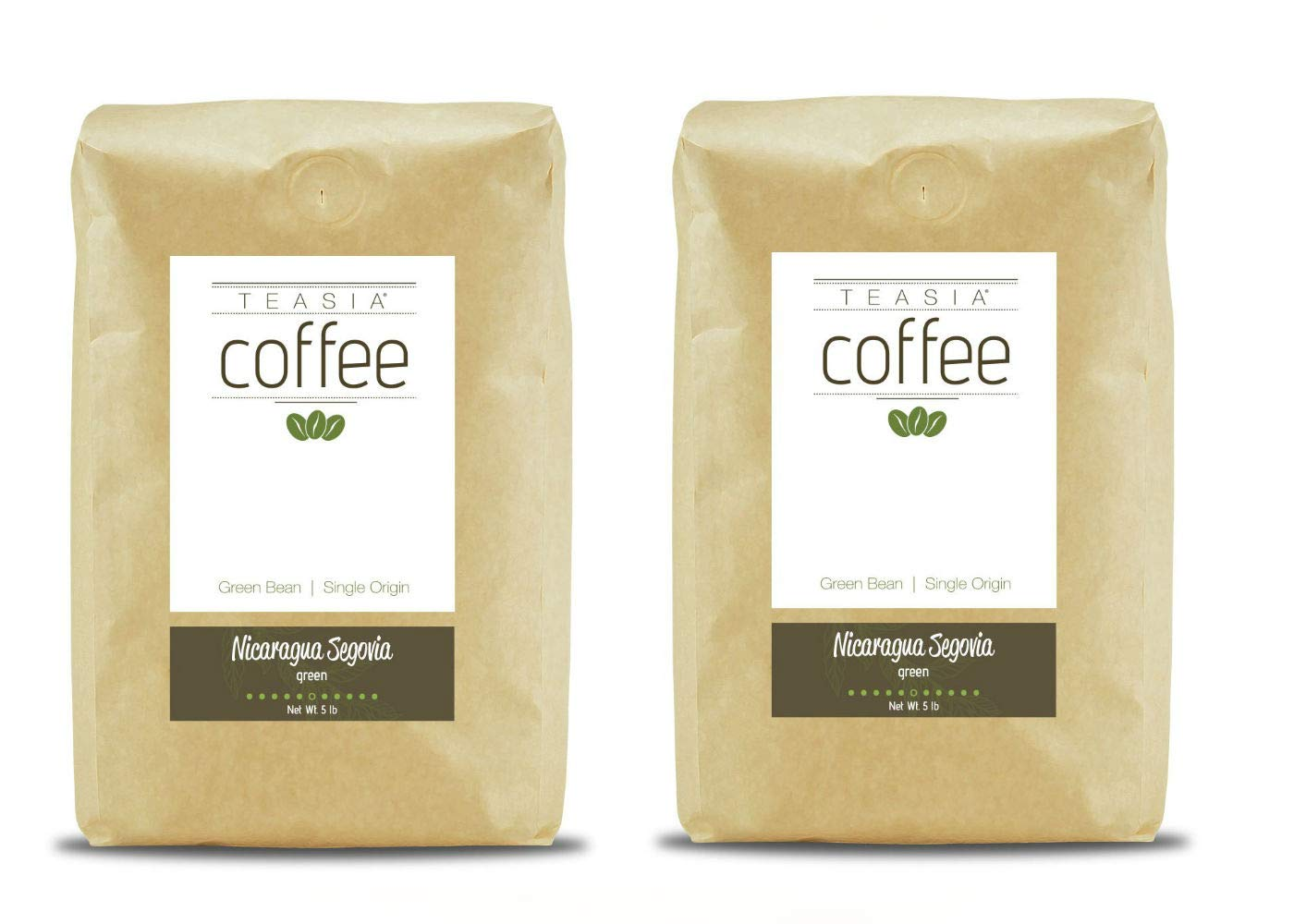 Teasia Coffee, Nicaragua Segovia, Single Origin Fair Trade, Green Unroasted Whole Coffee Beans, 5-Pound Bag (2-Pack)