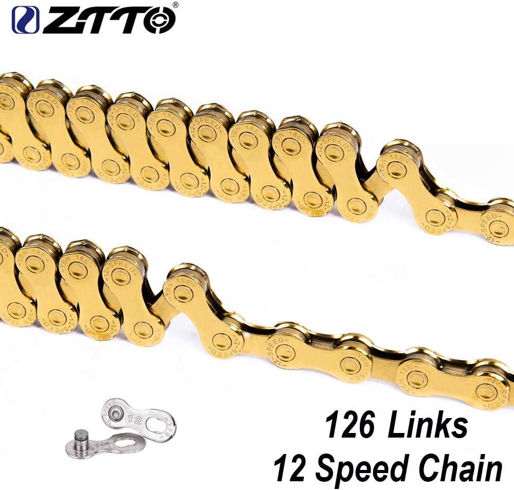 Ocamo ZTTO Cadena de Oro de 12s con eslabones Magic Link 126L Cadena para Bicicleta de monta/ña de 12 velocidades