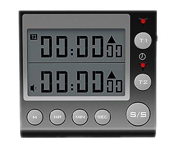 Compra Jayron KT002 Temporizador de 2 canales con reloj despertador temporizador de cocina despertador digital Minute/segundo temporizador reloj de ...