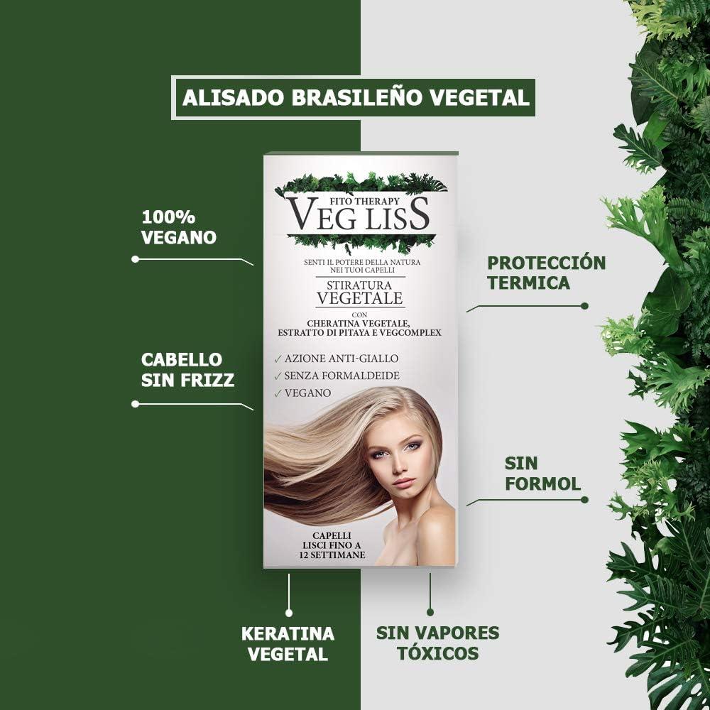 VegLiss Alisado Brasileño Vegetal, Kit Alisado con Champu Remineralizante PreTratamiento 30 ml, Tratamiento Alisador 120 ml, Sistema Anti-Amarillo, ...