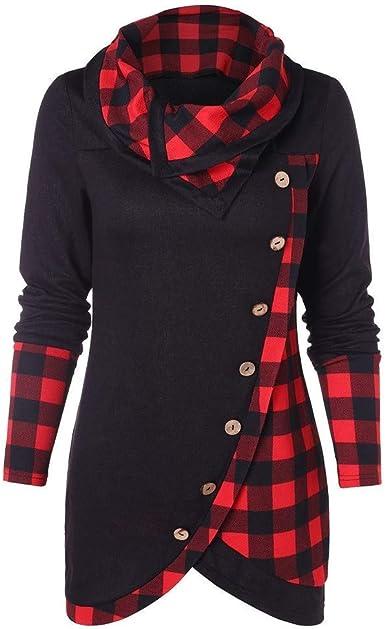 Pullover A Cuadros para Mujer Sudadera De Manga Larga Vintage Tops Blusa Camisa De Invierno Cuello Sesgado Suéter Superior Estilo A Cuadros Casual Rayas Arco (Color : D-Winered, Size : S): Amazon.es: