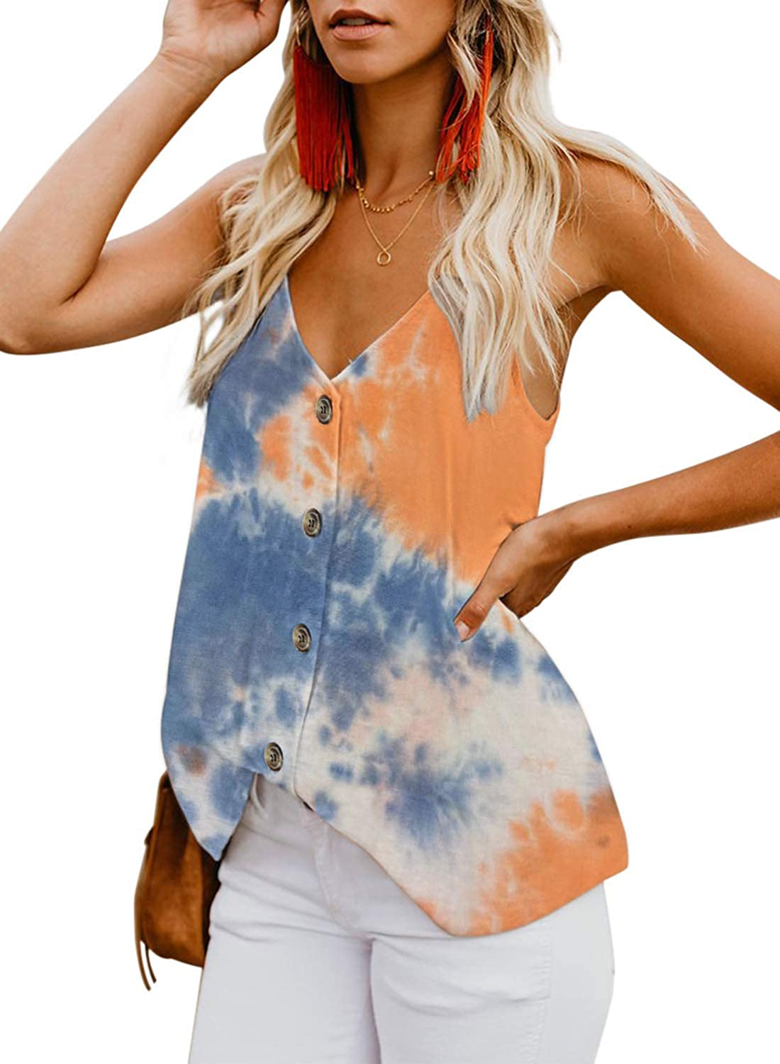 BLENCOT Womens Button Down V Neck Strappy Tank Tops Loose Casual Sleeveless Shirts Blouses