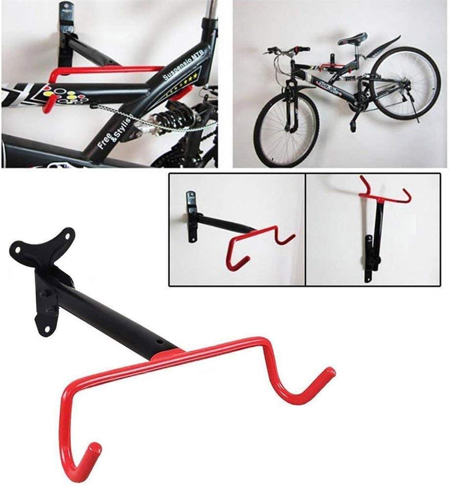 Estilo 01 Dual Gancho Bicicleta Pared Estante de Almacenaje Almacenaje para Exterior Suministros Plegable Acero Soportes con Ajuste Tornillos