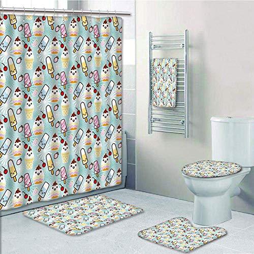 Bathroom 5 Piece Set Shower Curtain 3D Print Customized,Ice Cream Decor,Cute Cupcakes with Face Figures Cone Bars Creative Funny Caricature Image Decorative,Multicolor,Graph -