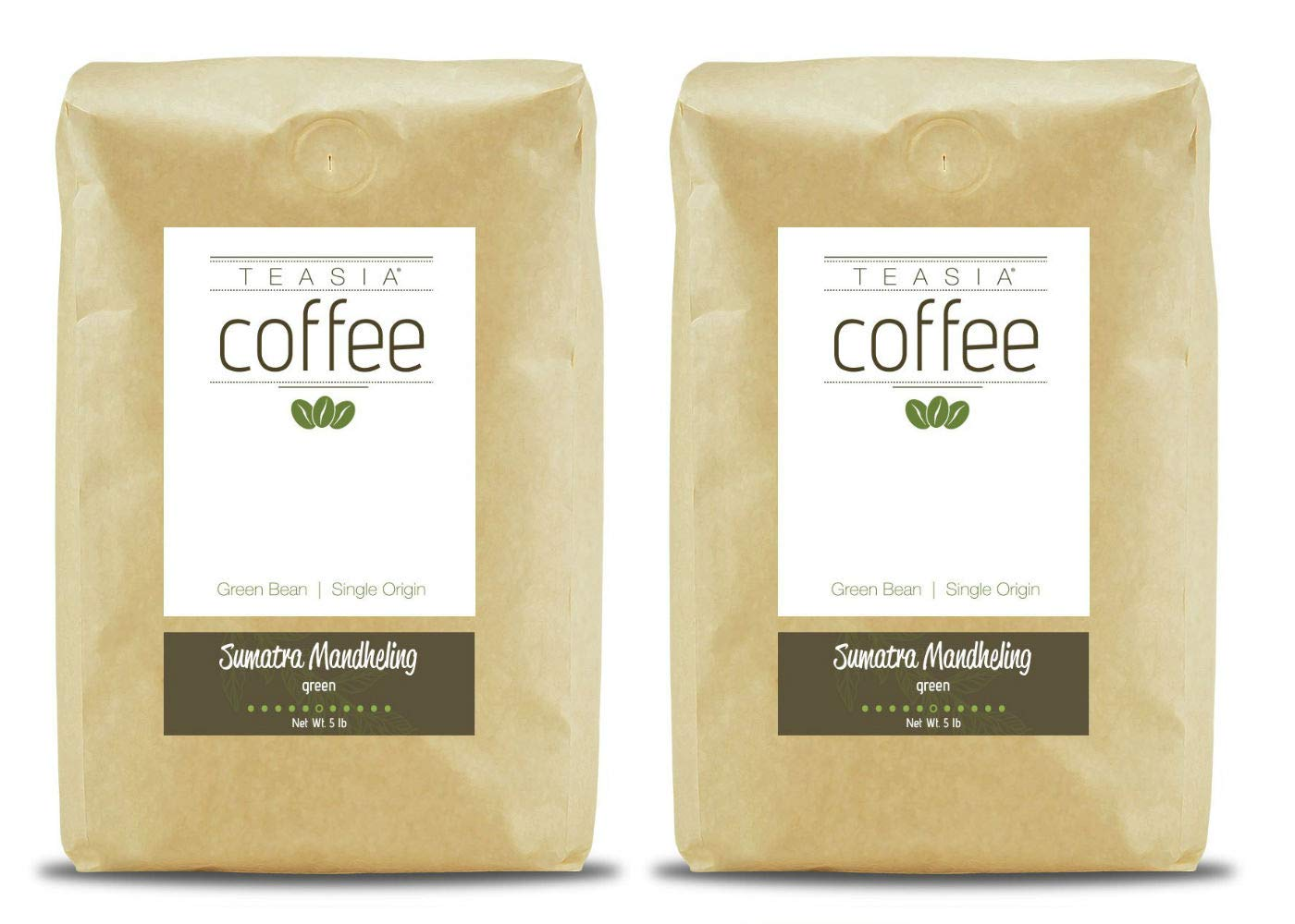 Teasia Coffee, Sumatra Mandheling, 2-Pack, Single Origin, Green Unroasted Whole Coffee Beans, 5-Pound Bag