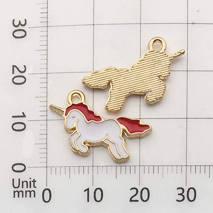 X5 white and blue enamel gold plated unicorn charms pendants for jewellery making