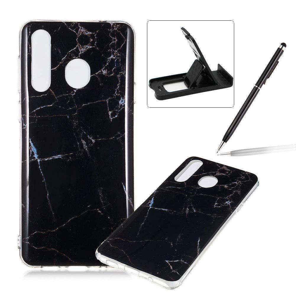 Soft Case for Samsung Galaxy A8s,Anti Scratch Cover for Samsung Galaxy A8s,Herzzer Stylish Pretty Black Marble Stone Pattern TPU Bumper Flexible Shock Scratch Resist Rubber Case