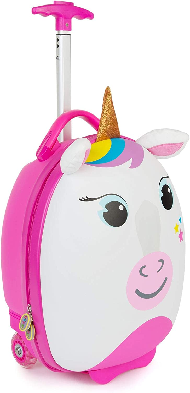 Boppi Tiny Trekker Kids Luggage Travel Suitcase Carry On Cabin Bag Holiday Pull Along Trolley Lighweight Wheeled Holdall 17 Litre Hand Case Pink Penguin bopster
