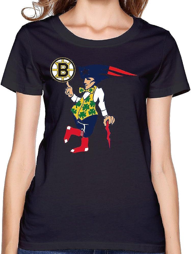 ElishaJ Women's Boston Sports Baseball Logo Mixed Cotton Tee Shirt Black