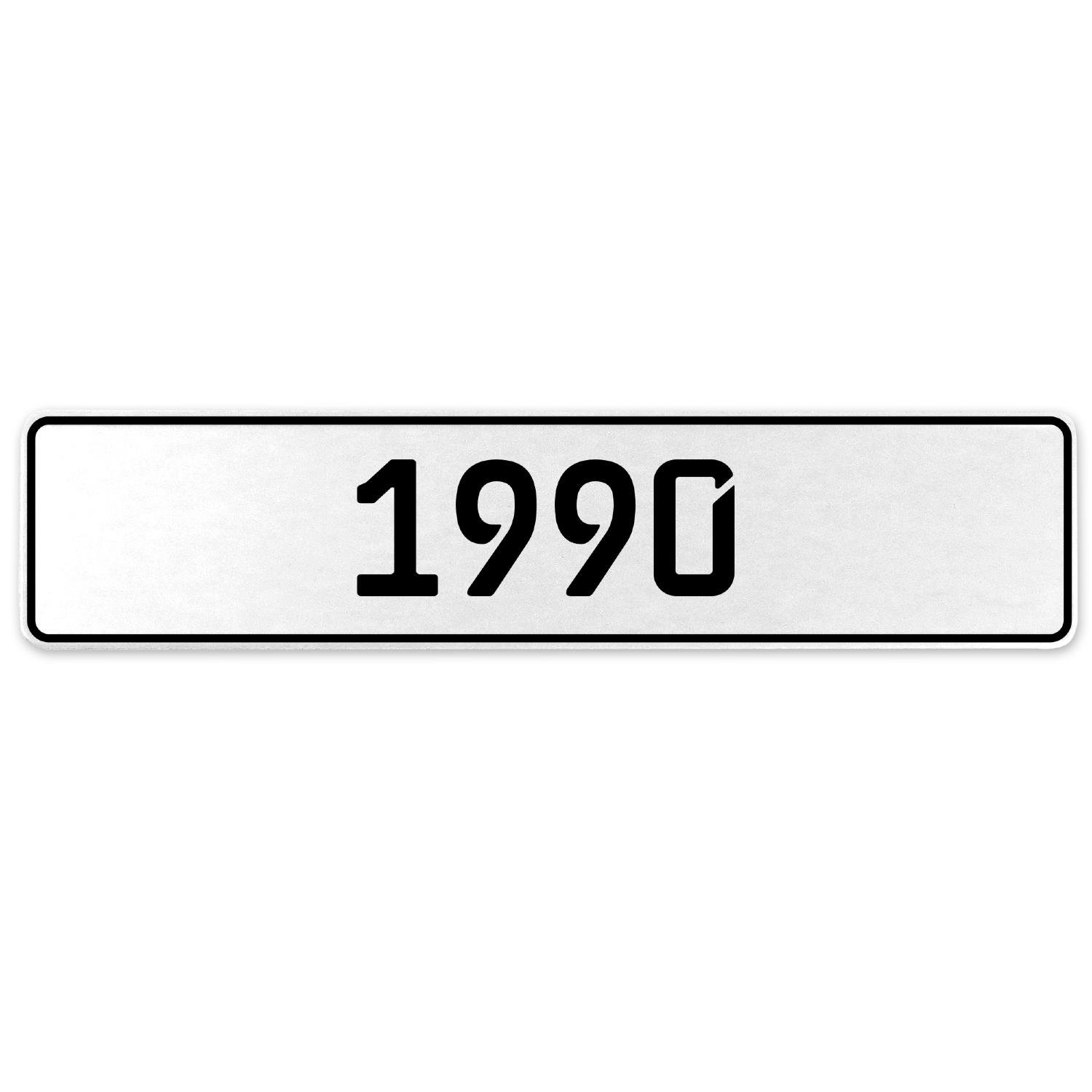 Vintage Parts 553233 1990 Year White Stamped Aluminum European License Plate