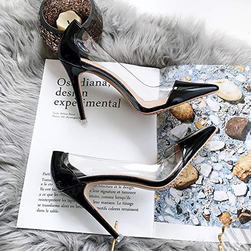 Yukun zapatos de tacón alto Zapatos De Mujer Acentuados Zapatos De Tacón De Aguja Transparente De Tacón Alto Transparente para Mujeres, 40, Desnudo Black