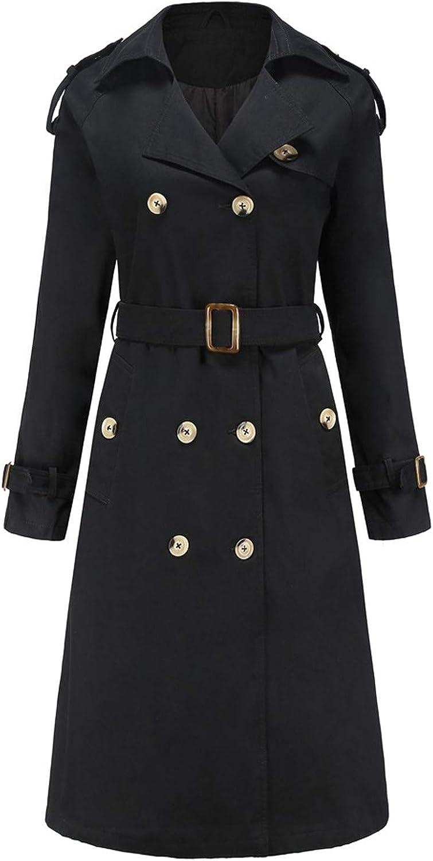 Eoeth Lapel Double-Breasted Trench for Women Winter Long Sleeve Belt Windbreaker Jacket Ladies Overcoat Outwear Tunic Coat