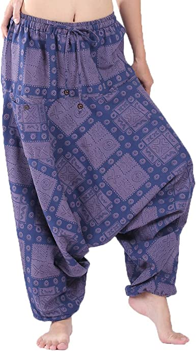 Yours Clothing Women/'s Plus Size Black Tribal Harem Trousers