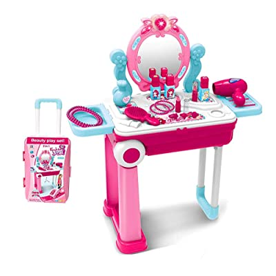 2 in 1 Pretend Play Kids Vanity Table and Chair Beauty Mirror and Accessories Play Set with Trolley Fashion & Makeup Accessories for Girls: Toys & Games