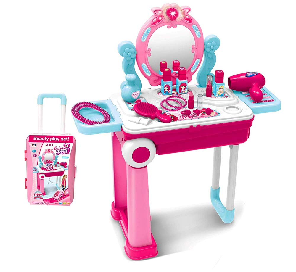 2 in 1 Pretend Play Kids Vanity Table and Chair Beauty Mirror and Accessories Play Set with Trolley Fashion & Makeup Accessories for Girls by XiongCheng