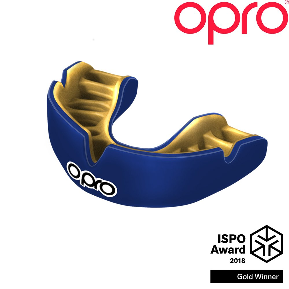OPRO Power-Fit Mouthguard | Adult Handmade Gum Shield for Football, Rugby, Hockey, Wrestling, and Other Combat and Contact Sports - 18 Month Dental Warranty (Ages 10+) (Blue)