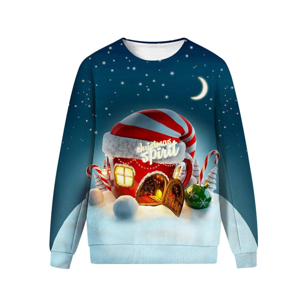1KTon Men Women Ugly Christmas Casual Sweater 3D Print Long Sleeve Sweatshirt Pullover by 1KTon