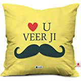 Indibni Love you Veer Ji Quote Printed Yellow Cushion Cover 12x12 with Filler Gift Siblings Birthday Anniversary