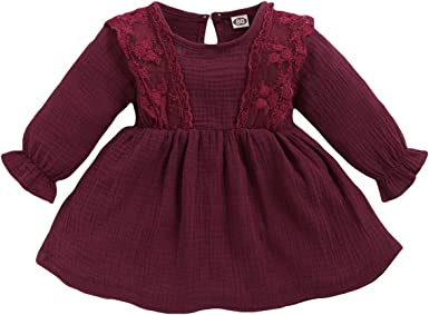 WESIDOM Toddler Baby Girl One-Piece Dresses,Little Infant Girl Ruffled Lace Solid Color Skirt