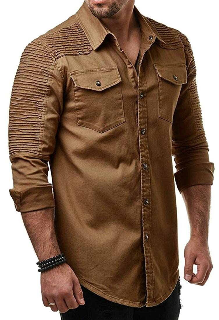 Hajotrawa Mens Washed Solid Color Pleated Long Sleeve Denim Button Down Shirts