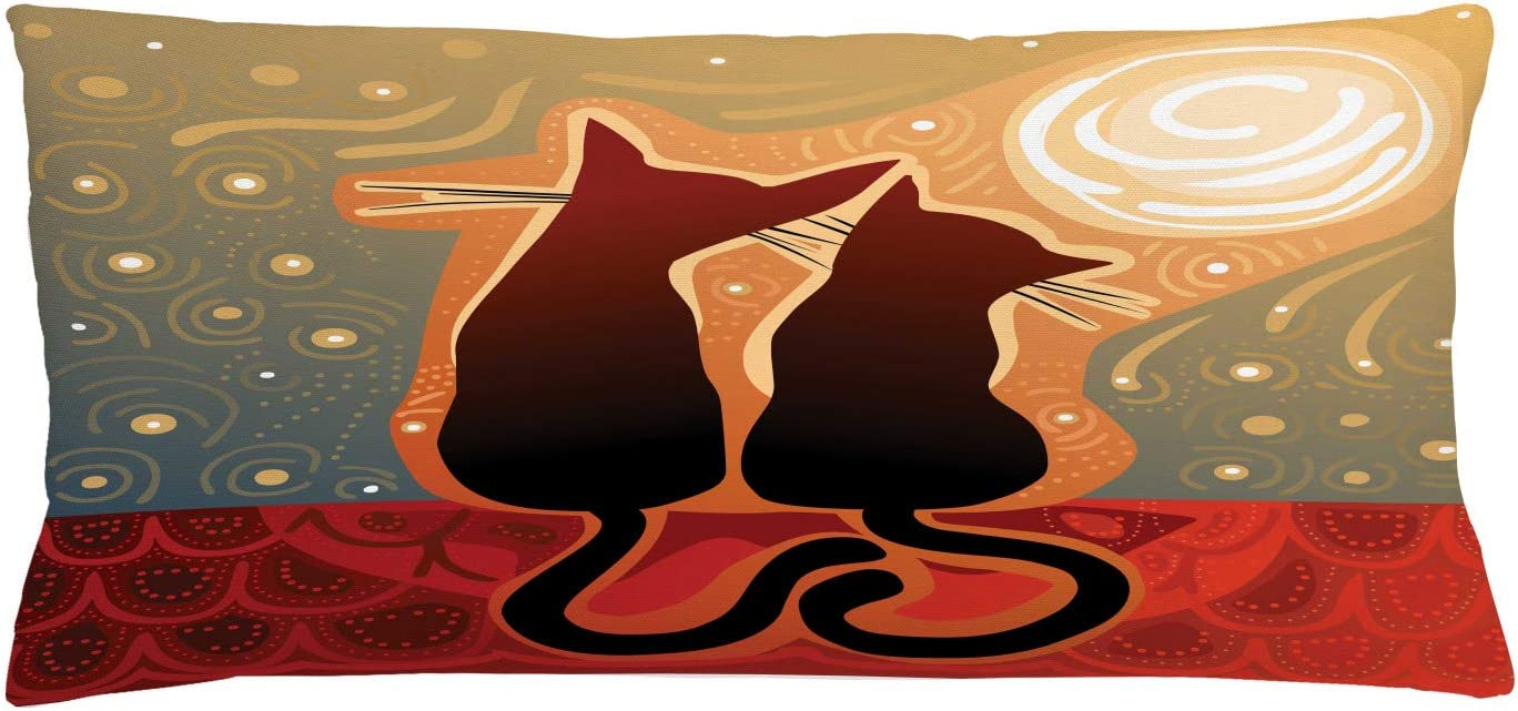 Ambesonne Animal Throw Pillow Cushion Cover, Female and Male Cats in Love Watching Moon Luna on Starry Sky Print, Decorative Rectangle Accent Pillow Case, 36