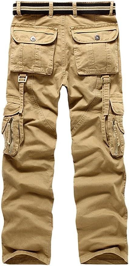 ARTFFEL Men Stylish Multi Pockets Cotton Straight Outwear Cargo Long Pants