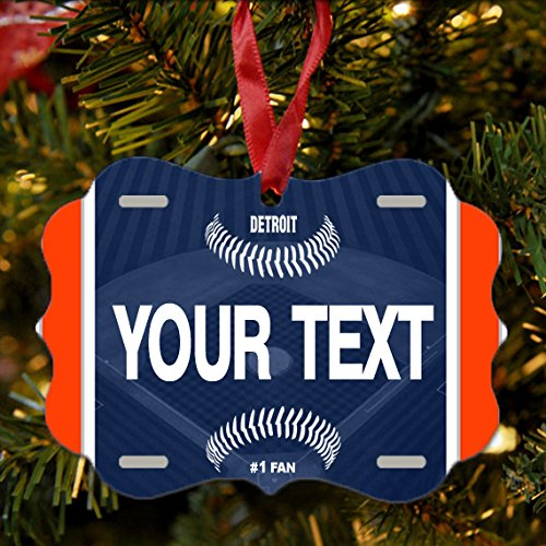 BRGiftShop Personalize Your Own Baseball Team Detroit Christmas Tree Ornament