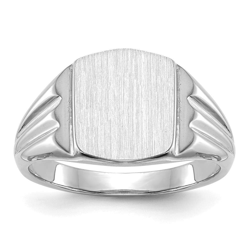 Roy Rose Jewelry 14K White Gold Solid Back Back Square Top Signet Ring Custom Personailzed with Free Engraving Available Initial or Monogram