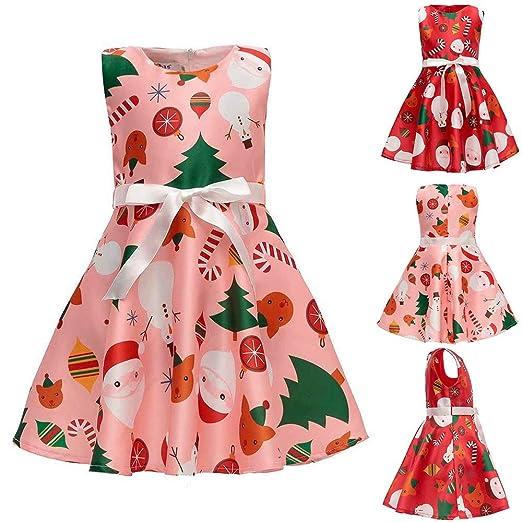 4657255f7353 WARMSHOP Kids Girls Flower Christmas Party Dress 🎅 Princess Sleeveless  Cartoon Santa Print Pageant Party Wedding