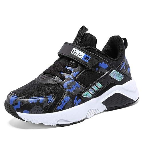 8b88b9790e2ea Zapatillas de Running para niños con Velcro Azul Blanco Zapatillas  Deportivas Zapatillas Deportivas para niños cómodas Suela Gruesa Zapatillas  Deportivas ...