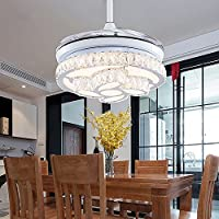 COLORLED Crystal Ceiling Fan with Flower Shade Design Retractable Blades Ceiling Fan With Chandelier and Remote-for Indoor, Outdoor, Living Dining Room Corridor-White