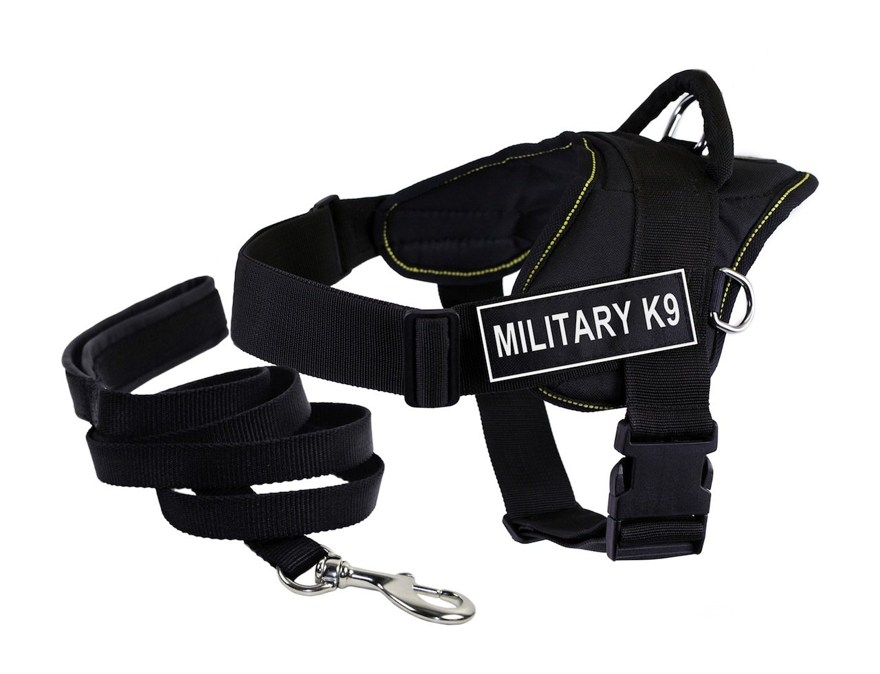 Dean & Tyler's DT Fun US MILITARY K9 Harness, Medium, with 6 ft Padded Puppy Leash.