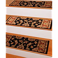 NaturalAreaRugs Sydney Carpet Stair Treads  Rug (Set of 13), 9 x 29, Black