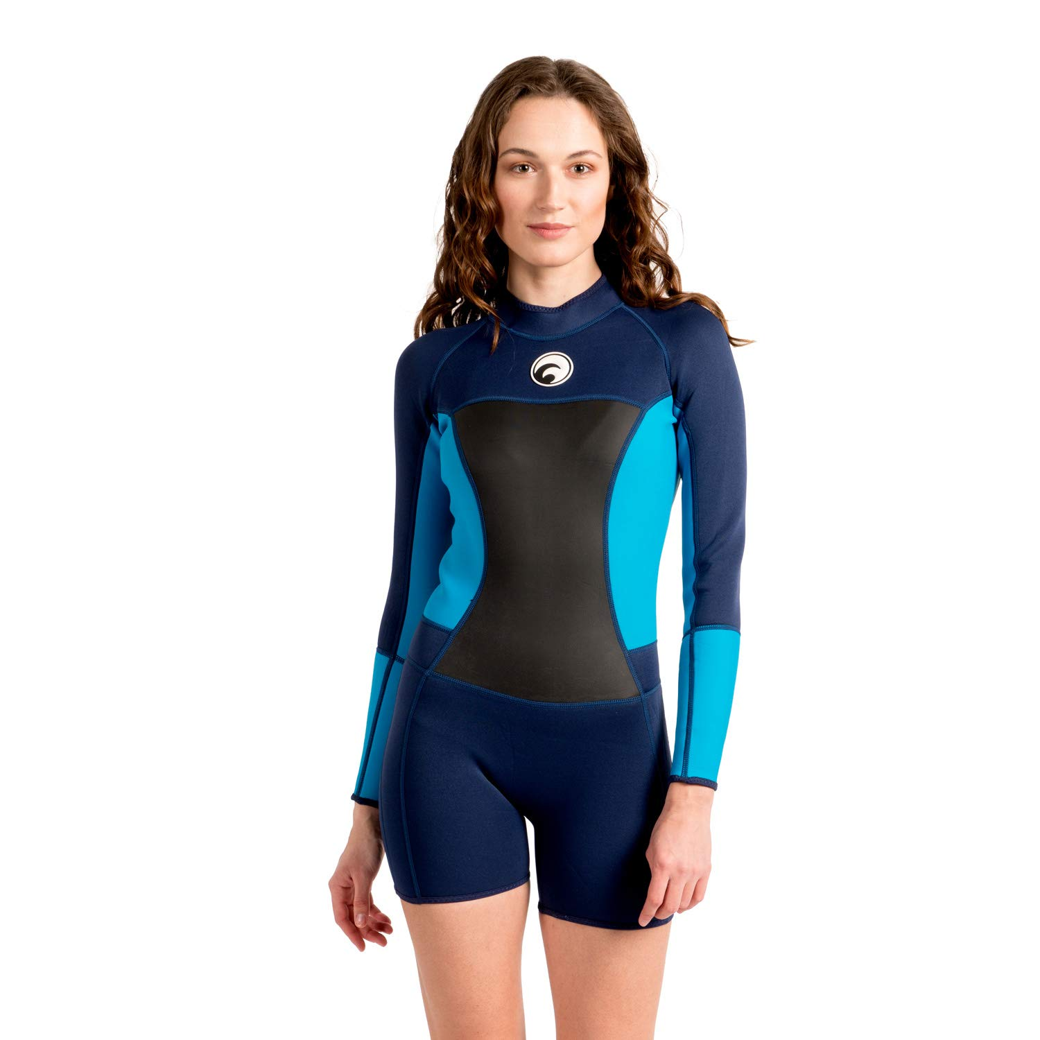 Scubadonkey 1.5 mm Neoprene Shorty Wetsuit for Women | Long Sleeve | for Surfing Scuba Diving Swimming Kayaking Snorkeling (S) by Scubadonkey