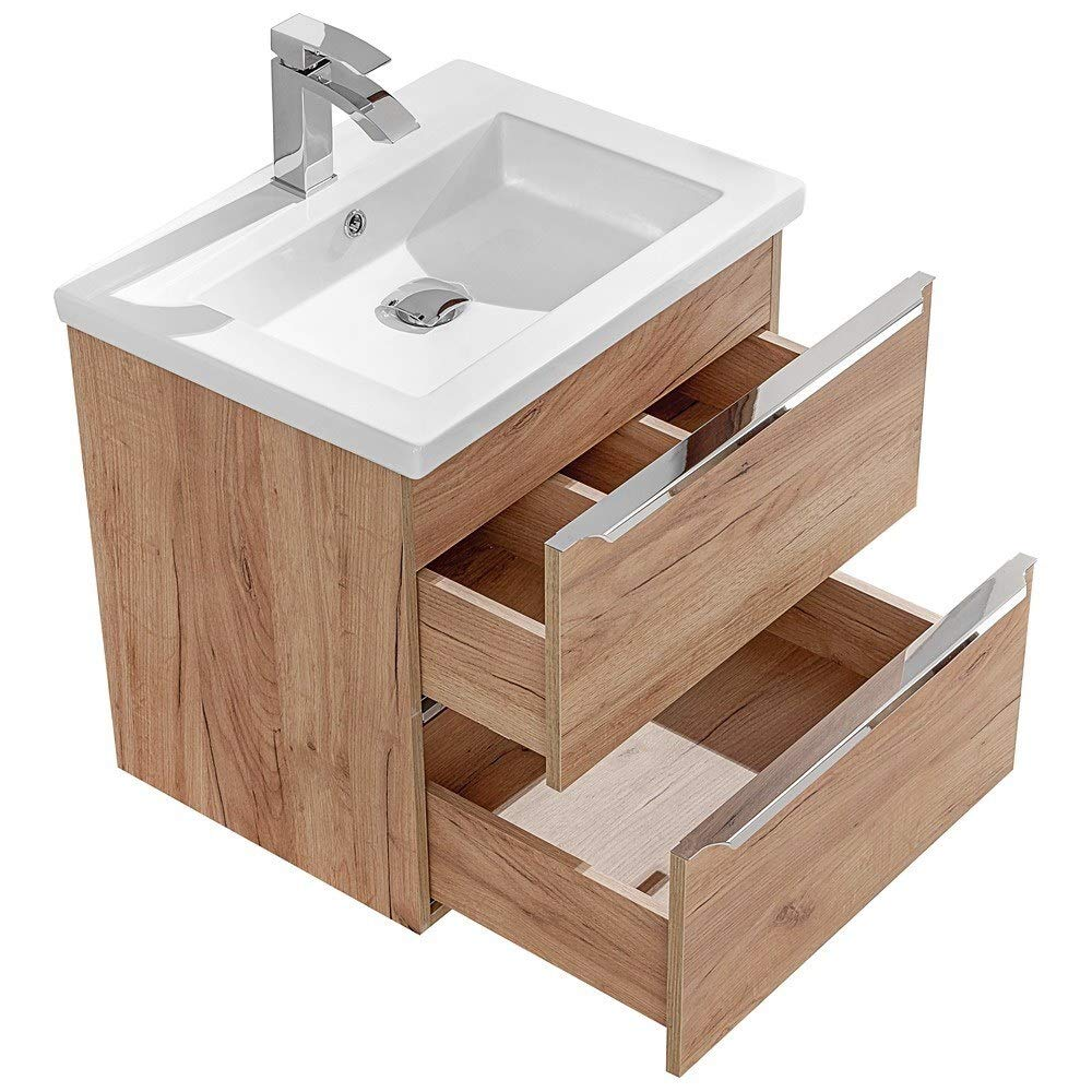 Wotaneiche /& Hochglanz wei/ß Lomadox Komplett Badm/öbel Set mit 2 Spiegelschr/änken und Doppel-Waschtisch 120cm aus Keramik Breite 120cm