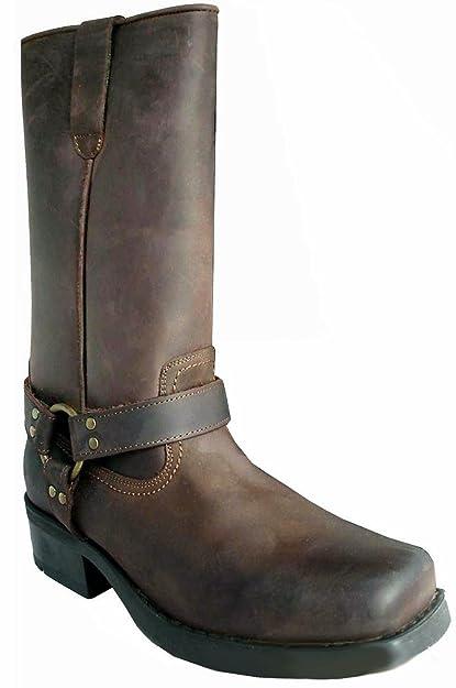 Set de botas largas de vaquero y calcetines, para hombre, piel de ternero, estilo Terminator, color marrón, talla 44: Amazon.es: Zapatos y complementos