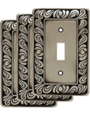 Franklin Brass 64048 Paisley Single Toggle Switch Wall Plate/Switch Plate/Cover, Brushed Satin Pewter, 3-Pack