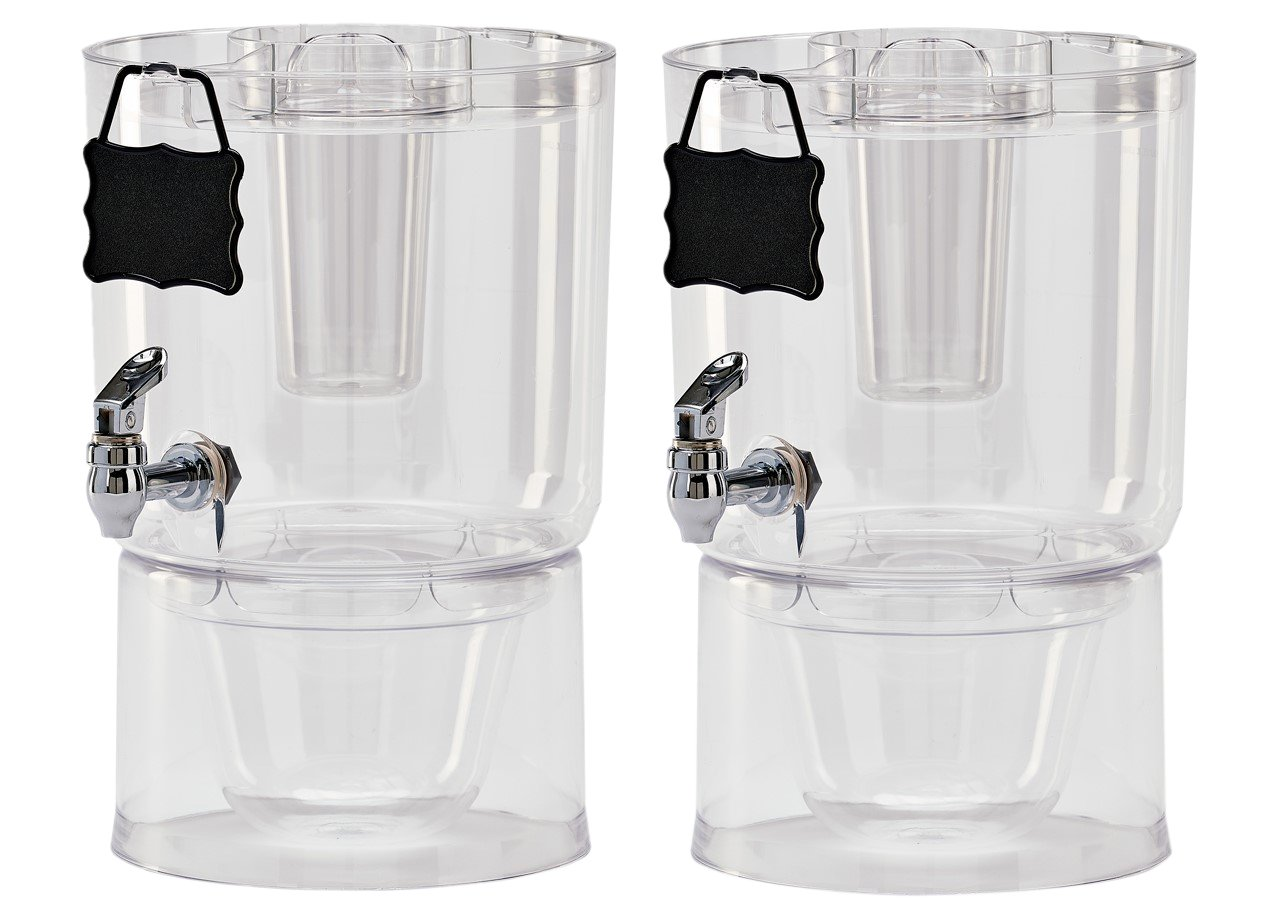 Buddeez Pary Top Beverage Dispensers , 1.75 Gallon, Clear (Pack Of 2)