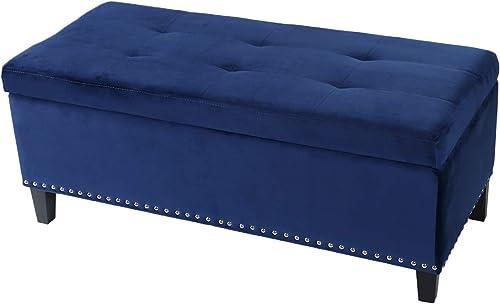 Adeco Fabric Lightweight Design Rectangular Tufted Lift Top Storage Ottoman Bench Footstool