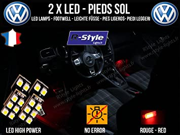 Bombillas 8 LED rojo – Iluminación de pies – Vokswagen Passat B6