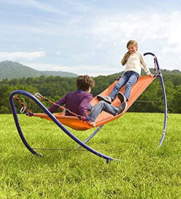 HearthSong® Rockin' 2-in-1 Rocking Hammock with Stand for Kids - Outdoor Yard Toys - 10.75 ft L x 4 ft W